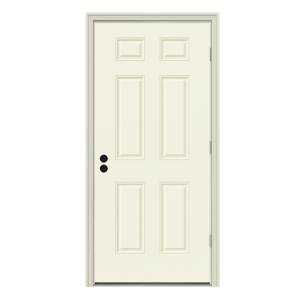 30 in. x 80 in. 6-Panel Vanilla Painted Steel Prehung Left-Hand Outswing Front Door w/Brickmould