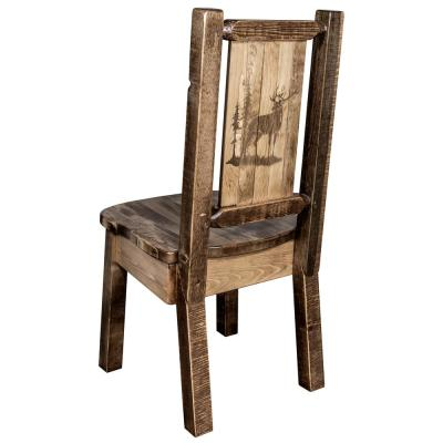 Homestead Collection Early American with Laser Engraved Elk Design Dining Side Chair