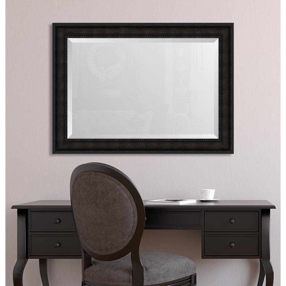 31 in. x 43 in. Framed 3-5/8 in. Espresso Rope Scoop Resin Frame Mirror