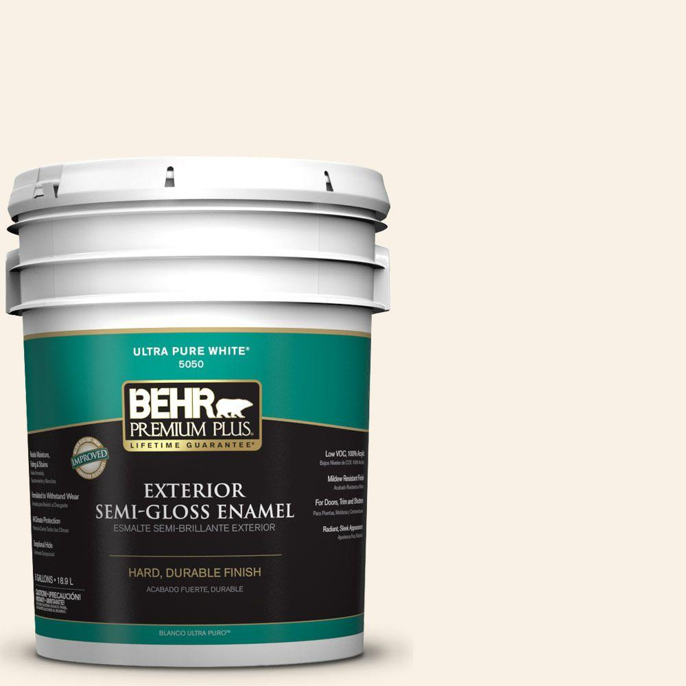 5-gal. #YL-W9 Spun Cotton Semi-Gloss Enamel Exterior Paint