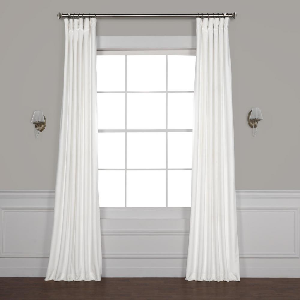 Pillow White Plush Velvet Curtain - 50 in. W x 84 in. L