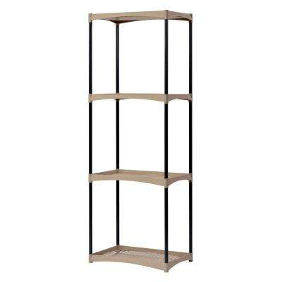 53.9 in. H x 19.2 in. W x 12.2 in. D 4-Shelves Plastic Shelving Unit in Black/Tan