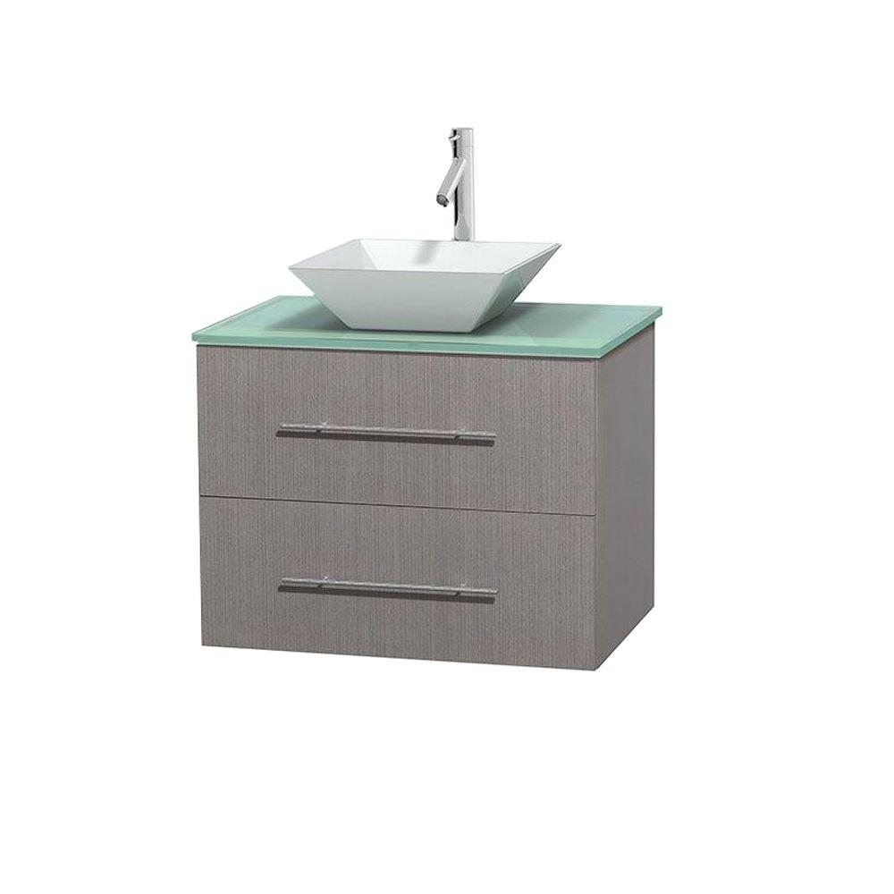 Wyndham Collection Centra 30 in. Vanity in Gray Oak with Glass Vanity Top in Green and Porcelain Sink