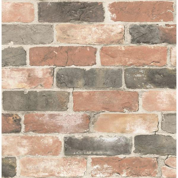 Brewster Dusty Red Reclaimed Bricks Rustic Wallpaper Sample 2701-22320SAM