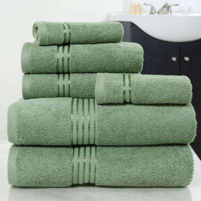 100% Egyptian Cotton Hotel Towel Set in Green (6-Piece)