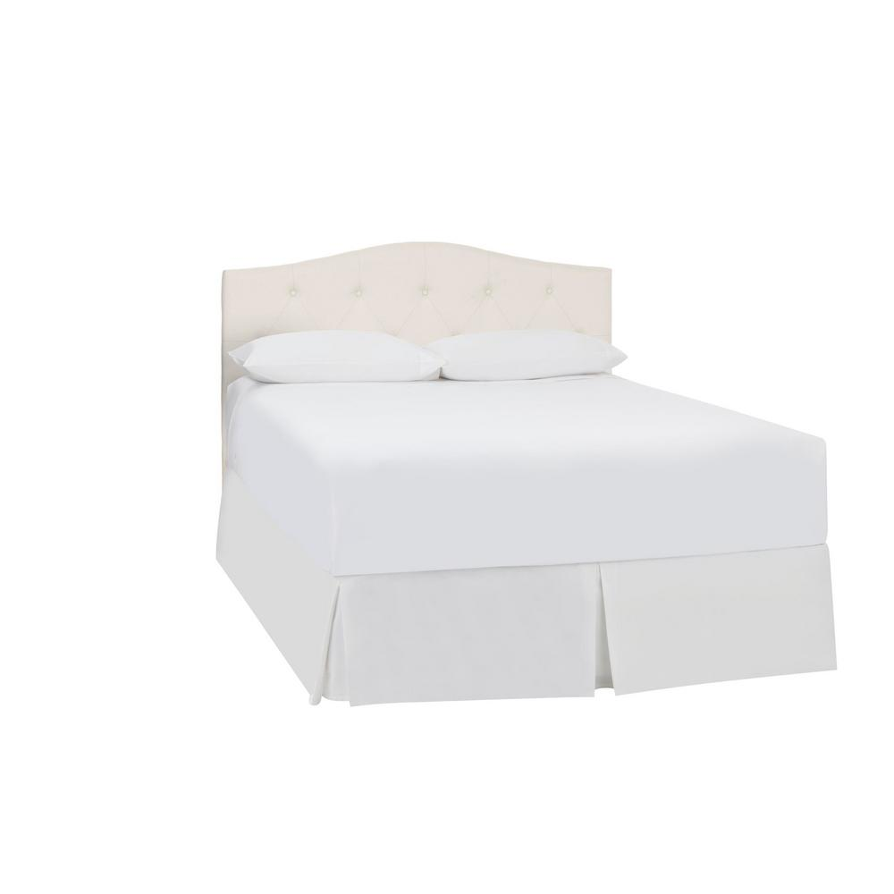 Stylewell StyleWell Plumridge Ivory Upholstered Queen Curved Back Headboard with Tufting (61.4 in W. X 57.3 in H.)