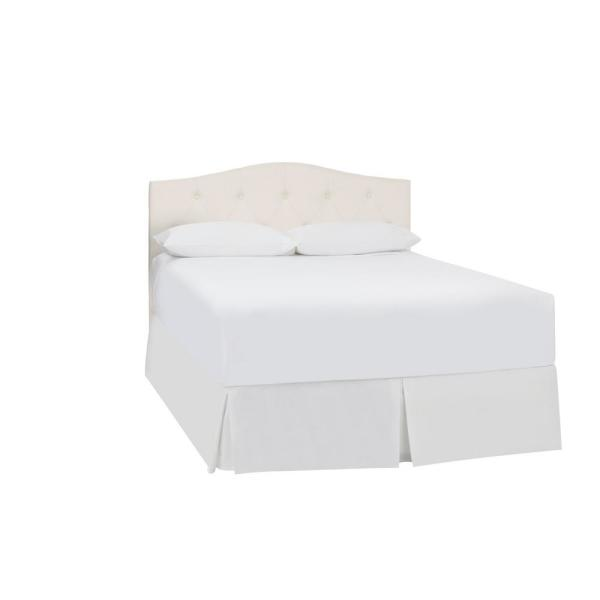 Plumridge Ivory Upholstered Queen Curved Back Headboard with Tufting (61.4 in W. X 57.3 in H.)