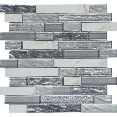 Whistler Ice Interlocking 11.81 in. x 12 in. x 8 mm Glass Mesh-Mounted Mosaic Tile (9.7 sq. ft. / case)