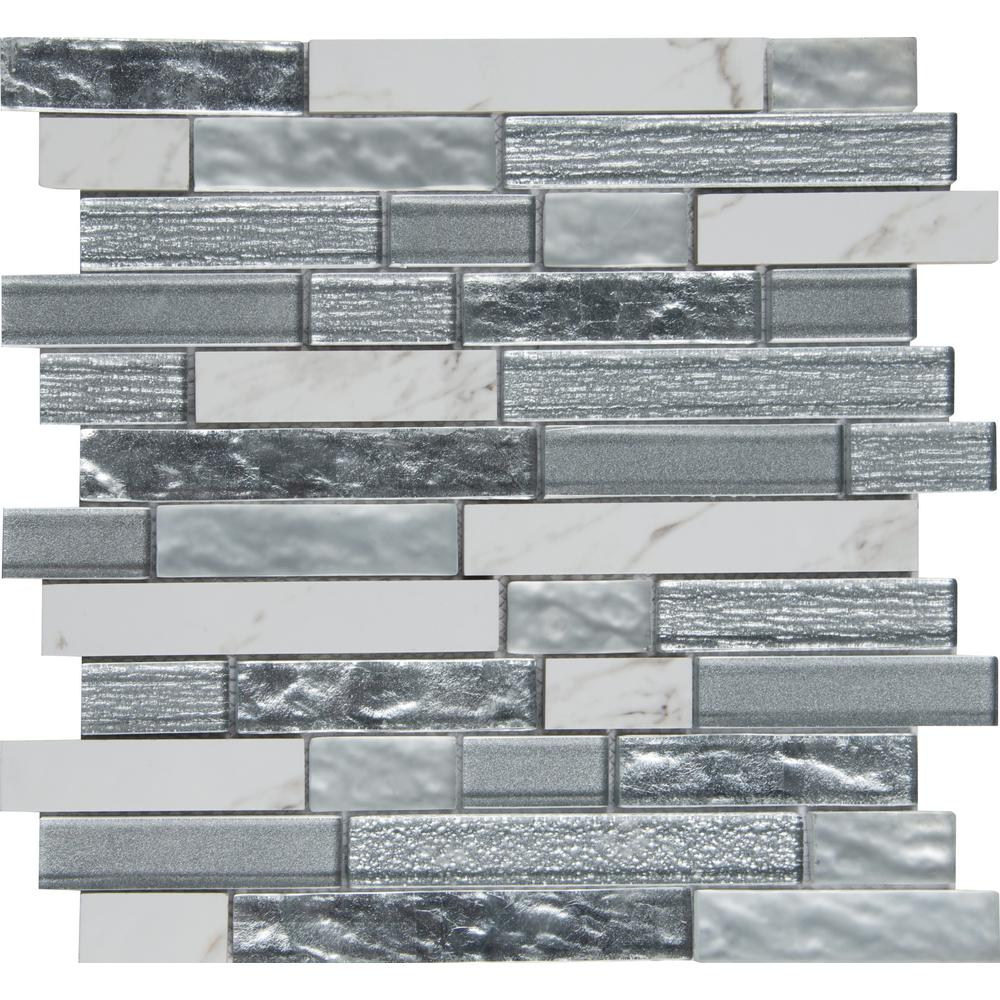 Whistler Ice Interlocking 11 81 In X 12 8mm Gl Mesh Mounted Mosaic Tile 9 7 Sq Ft Case