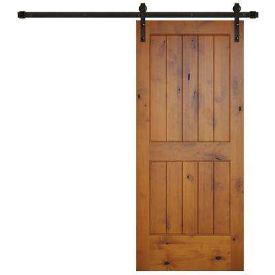 36 in. x 84 in. Rustic 2-Panel V-Groove Prefinished Knotty Alder Wood Interior Barn Door with Bronze Hardware