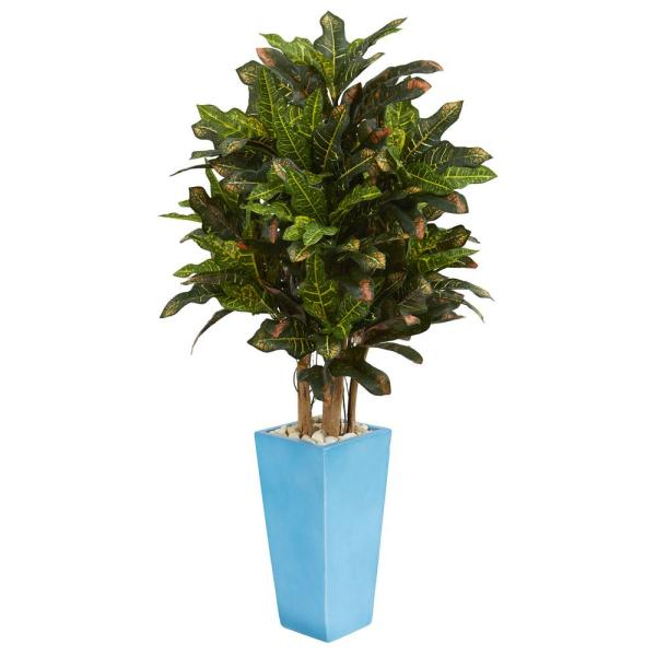 Nearly Natural 4 ft. Indoor Croton Artificial Plant in Turquoise Planter