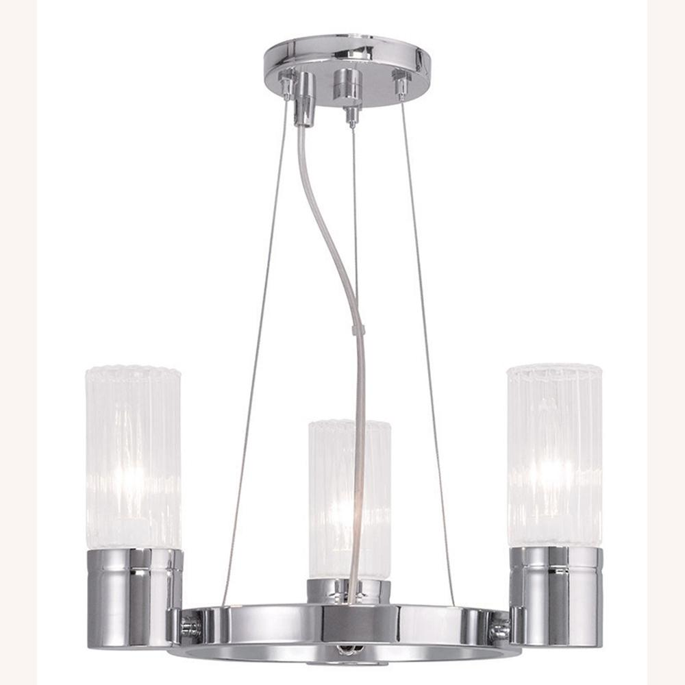 Livex lighting midtown 3 light chrome mini chandelier with hand livex lighting midtown 3 light chrome mini chandelier with hand crafted clear fluted glass shade aloadofball Images