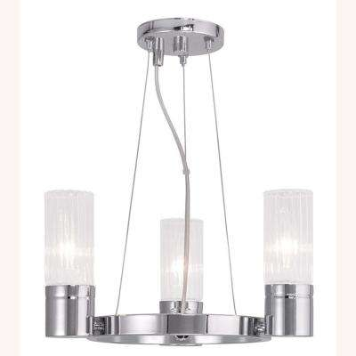 Midtown 3-Light Chrome Mini Chandelier with Hand Crafted Clear Fluted Glass Shade