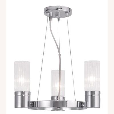 Midtown 4-Light Chrome Mini Chandelier with Hand Crafted Clear Fluted Glass Shades