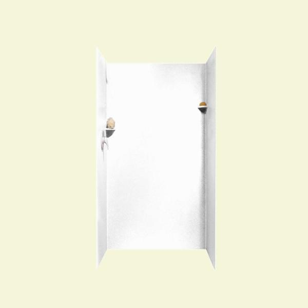 36 in. x 36 in. x 72 in. 3-Piece Easy Up Adhesive Alcove Shower Surround in White