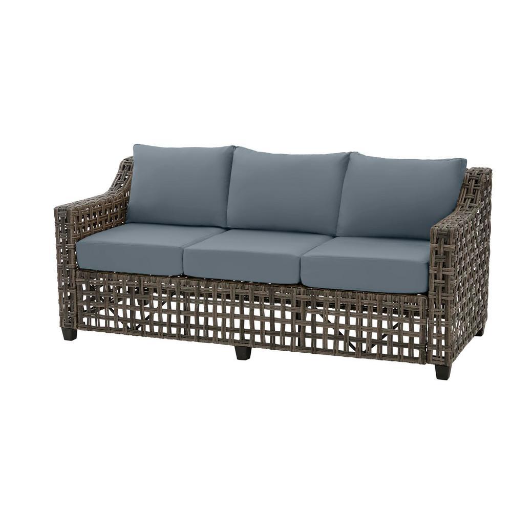 Briar Ridge Brown Wicker Outdoor Patio Sofa with Sunbrella Denim Blue Cushions