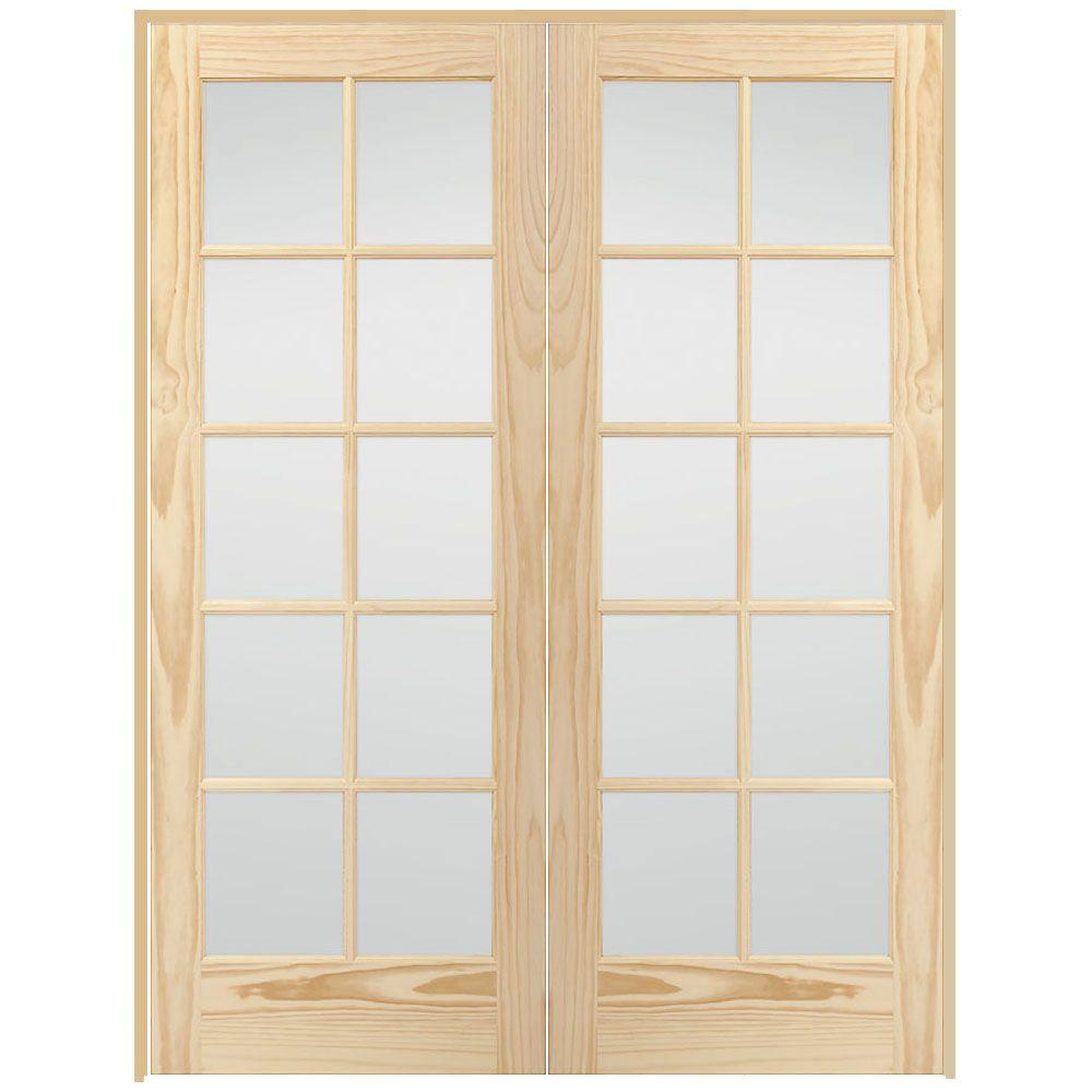 Steves sons 48 in x 80 in 10 lite glass solid core unfinished 10 lite glass solid core unfinished pine prehung interior french door w64n2nnnaldr the home depot rubansaba