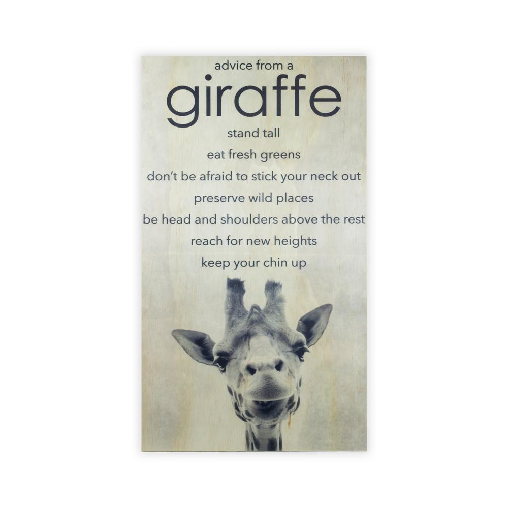 28 in. x 15.75 in. ANIMAL ADVICE- GIRAFFE by Twelve Timbers, INC. Wooden Wall Art