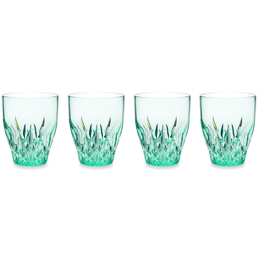 Aurora 12 oz. Green Stemless Wine Glass (Set of 4)