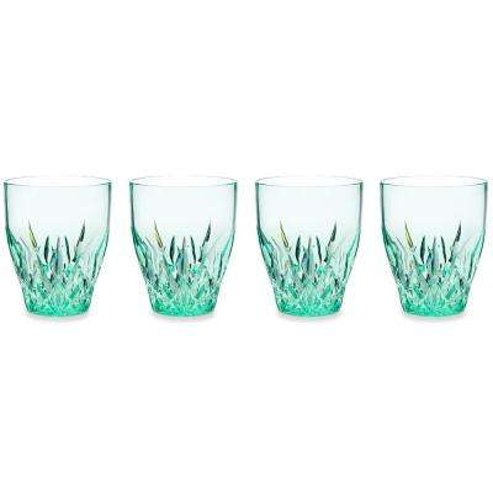 Aurora 12 oz. Green Stemless Wine Glass (Set of 4)