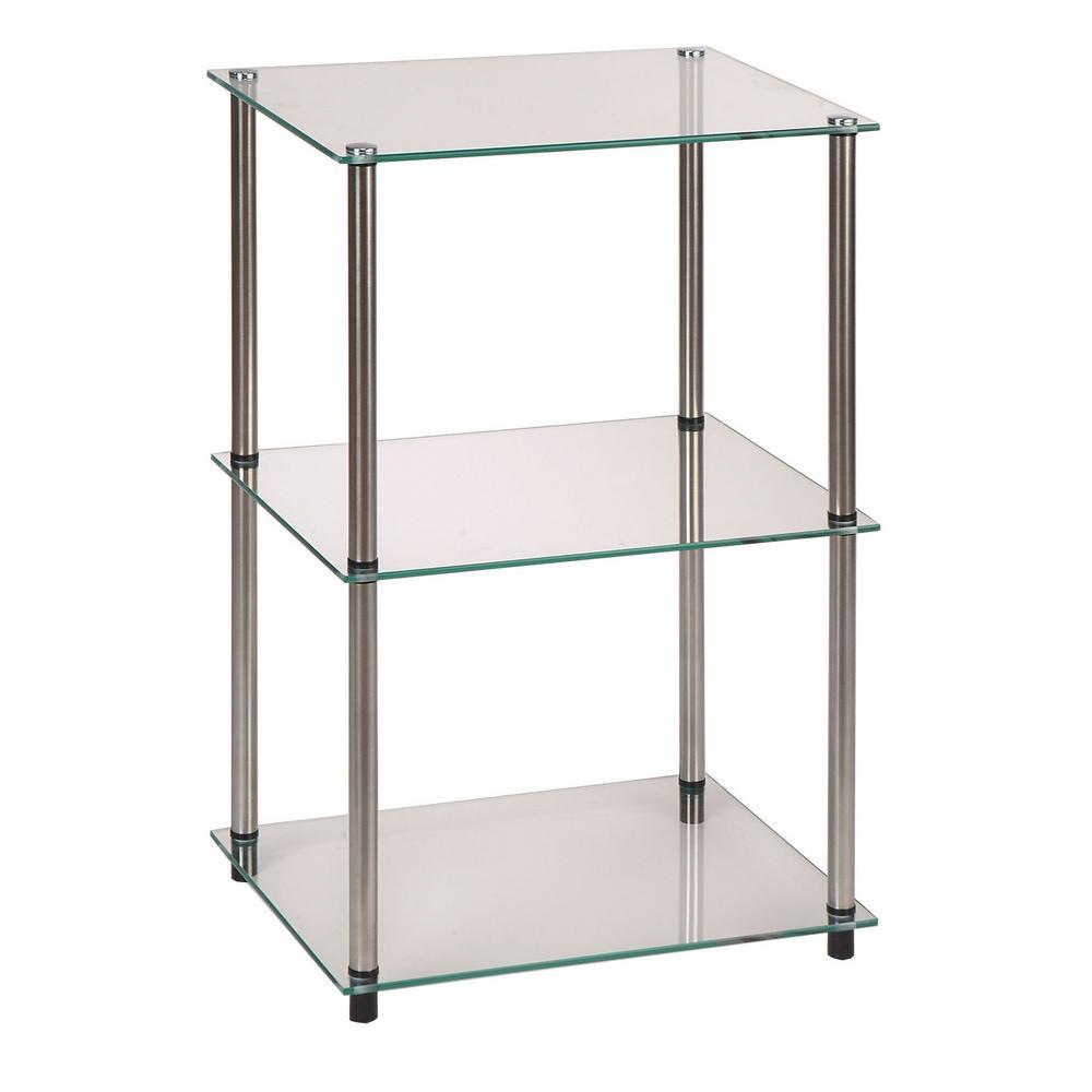 Convenience Concepts Classic Glass 3-Shelf Bookcase Silver