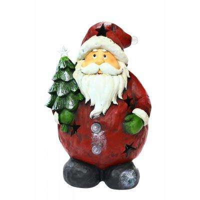 16 in. Santa Holding Tree Statue with 4 Color Changing LED Lights