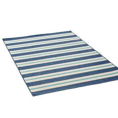 Ronan Blue and Ivory 5 ft. x 8 ft. Striped Indoor/Outdoor Area Rug