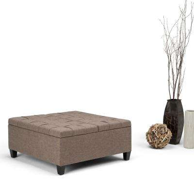 Harrison Fawn Brown Linen Look Fabric Storage Ottoman