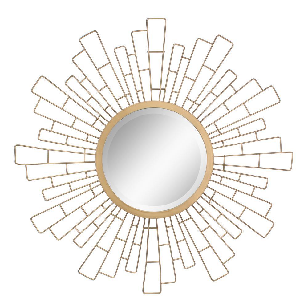 Stonebriar Collection Geometric Sunburst Gold Decorative Wall Mirror