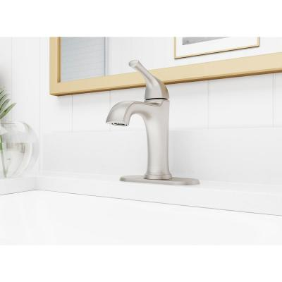 Ladera Single-Hole Single-Handle Bathroom Faucet in Spot Defense Brushed Nickel