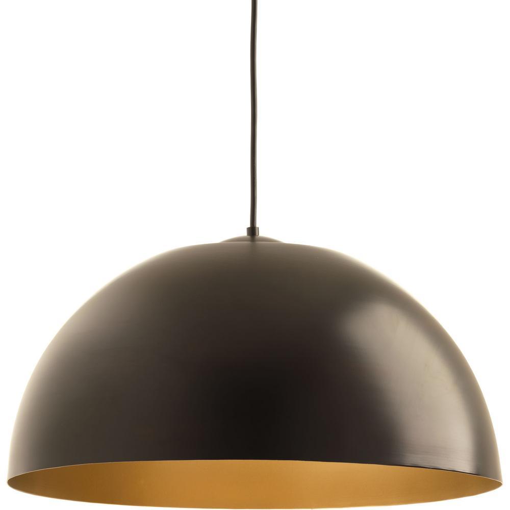 Modern pendant lights lighting the home depot dome collection 29 watt antique bronze integrated led pendant aloadofball Gallery
