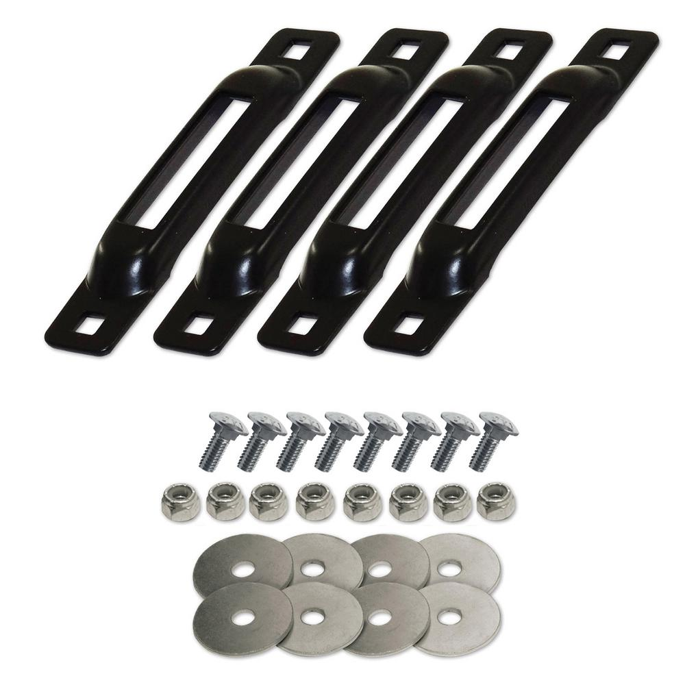 SNAP-LOC E-Track Single Strap Anchor in Black with Carriage Bolts (4-Pack)