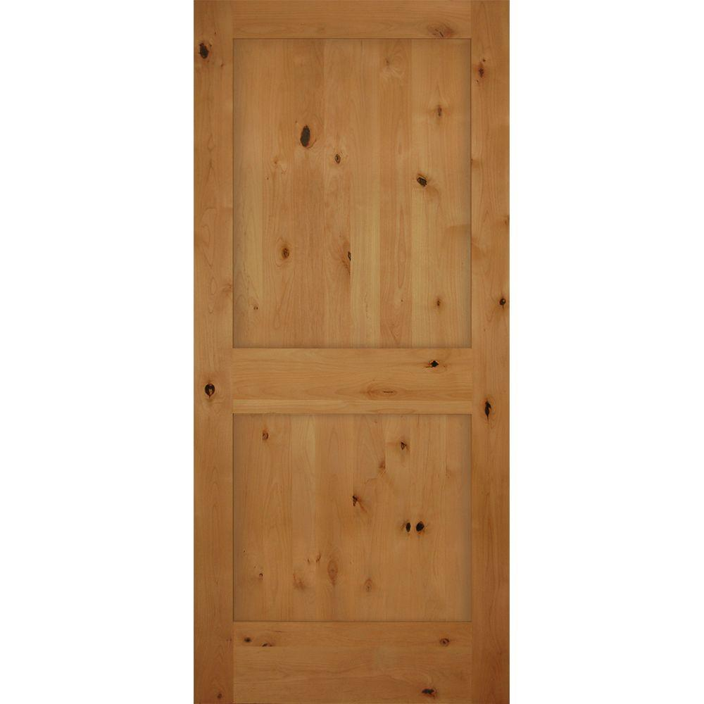 Builders Choice 36 In X 80 In 2 Panel Shaker Solid Core Knotty Alder Single Prehung Interior