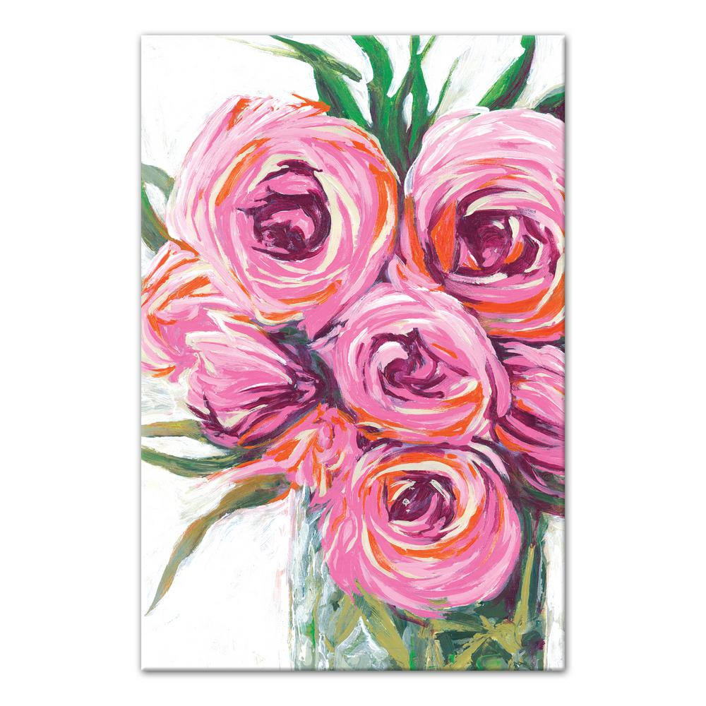Vase With Bright Pink Flowers Printed Canvas Wall Art
