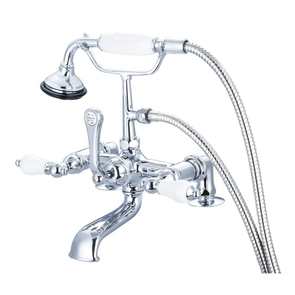 Water Creation 3-Handle Vintage Claw Foot Tub Faucet with Hand ...
