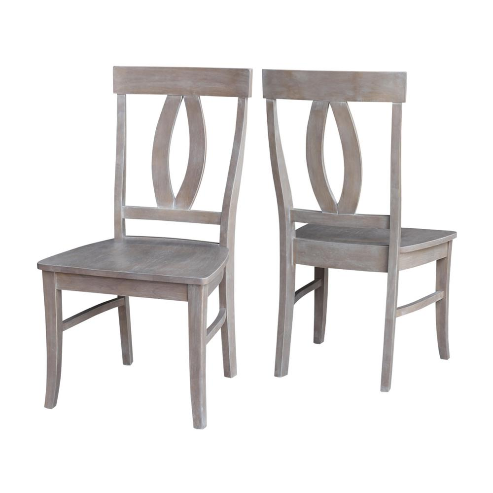 International Concepts Verona Weathered Taupe Gray Wood Dining Chair Set Of 2