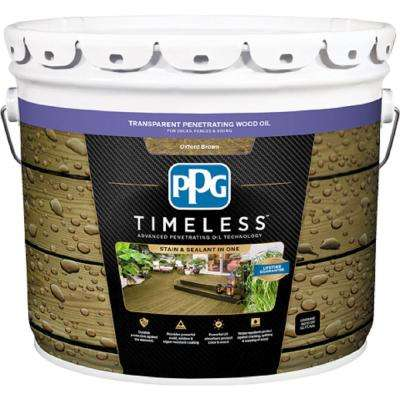 3 gal. TPO-14 Oxford Brown Transparent Penetrating Wood Oil Exterior Stain Low VOC