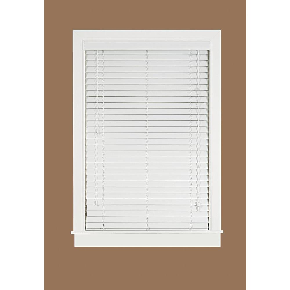 Madera Falsa White 2 in. Faux Wood Plantation Blind - 30 in. W x 64 in. L (Actual Size 29.5 in. W 64 in. L )