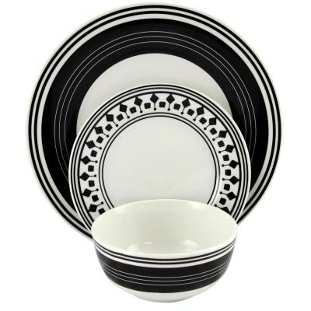 Classic Melody 12-Piece Black and White Ceramic Dinnerware Set
