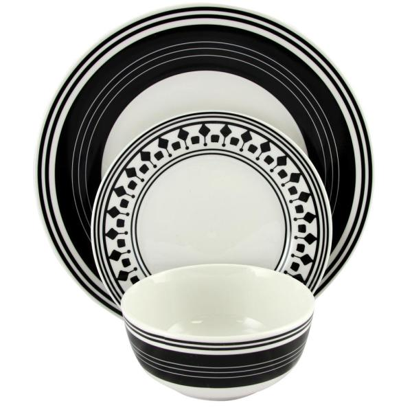 Gibson Home Classic Melody 12-Piece Black and White Ceramic Dinnerware Set