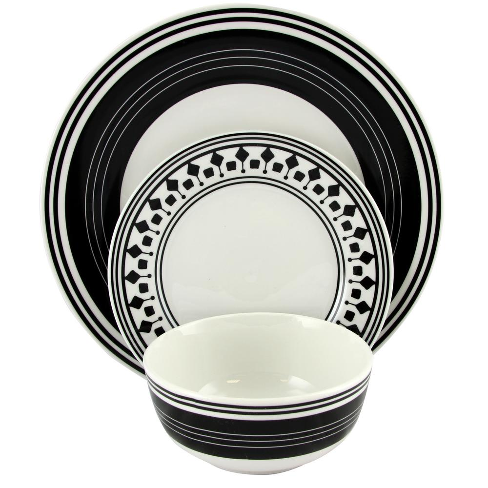Classic Melody 12-Piece Black and White Ceramic Dinnerware Set