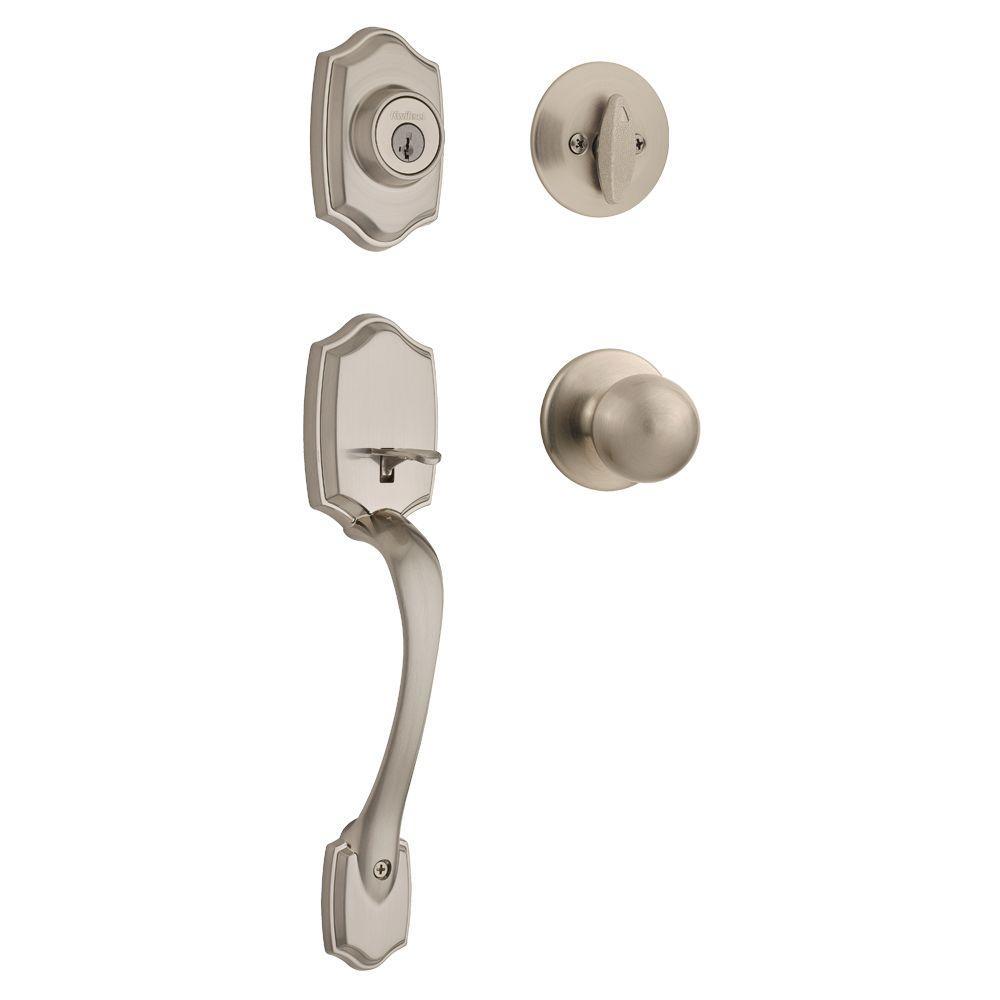 Belleview Satin Nickel Single Cylinder Door Handleset with Polo Door Knob Featuring SmartKey Security
