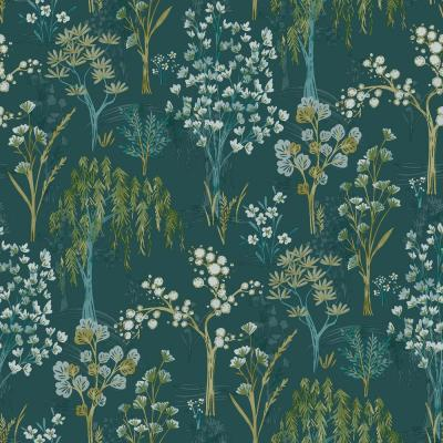 Whimsical BoTanicals Wallpaper Teal Paper Strippable Roll (Covers 57 sq. ft.)