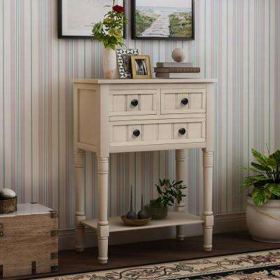 Beige Narrow Console Table with 3 Drawers and Shelf