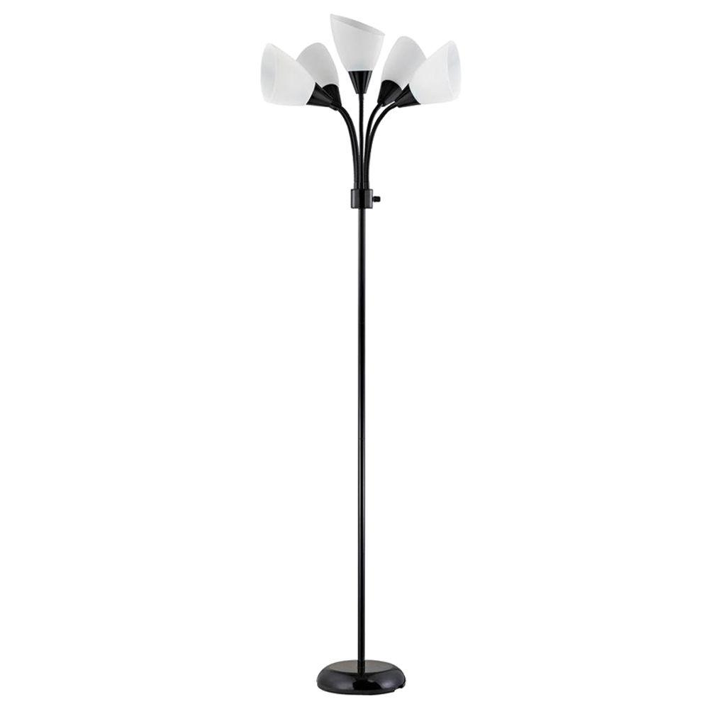 Elegant Contemporary Black Adjustable Floor Lamp 19002 07   The Home Depot