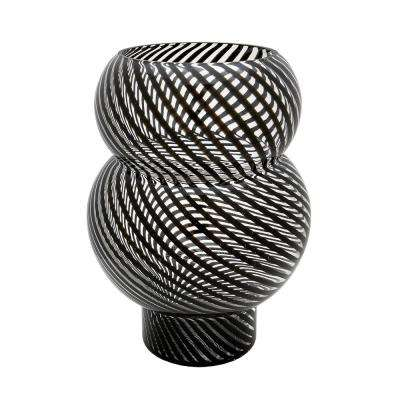 16 in. Whirl Bubble Glass Decorative Vase in Black and Clear
