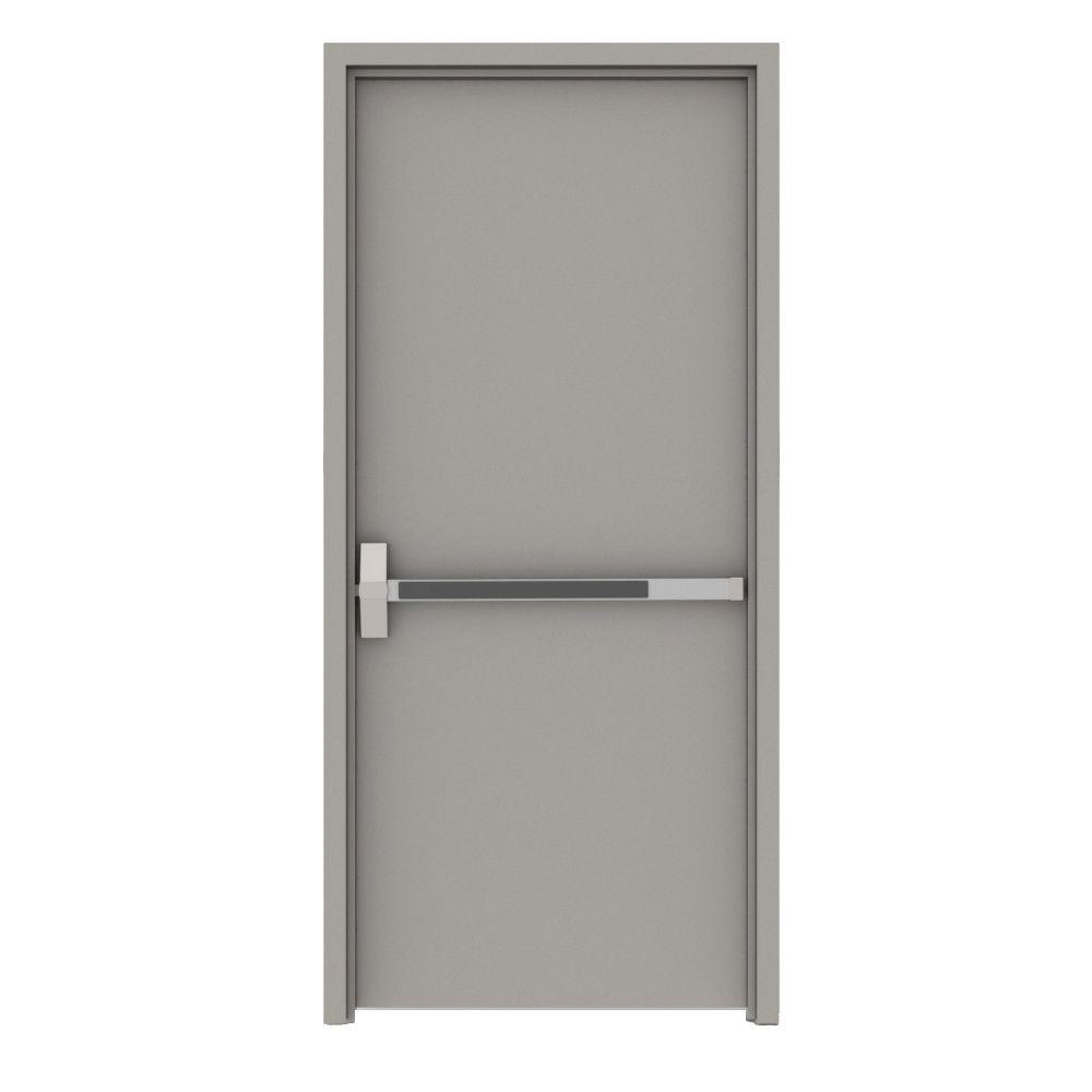 36 in. x 80 in. Gray Flush Exit Right-Hand Fire Proof
