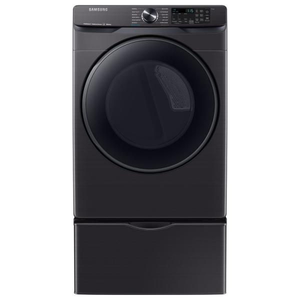 Samsung 7 5 Cu Ft 240 Volt Black Stainless Steel Front Load Electric Dryer With Steam Sanitize Energy Star Dve50r8500v The Home Depot