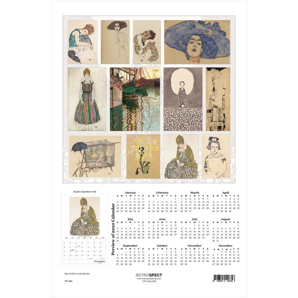 19 in. H x 12.5 in. W Egon Schiele - 2019 Calendar