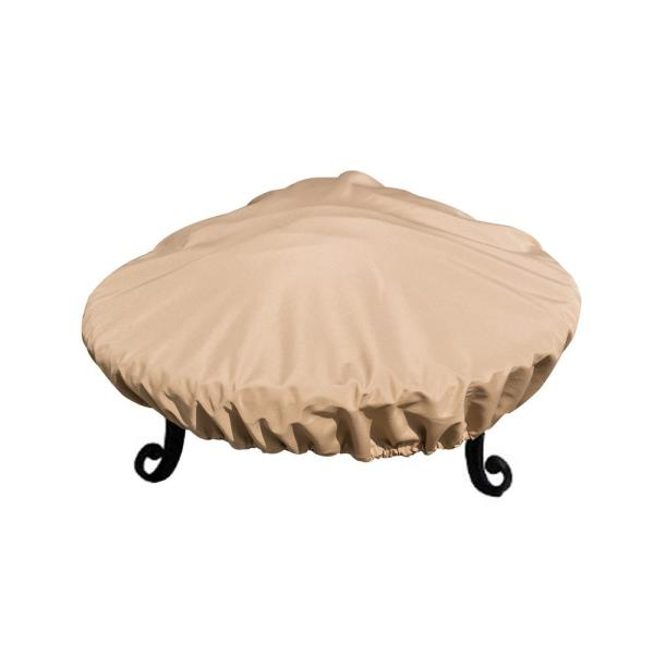 Sandstone Fire Pit Cover All-Weather Protective Cover with Draw Strings for 34 in. to 37 in. Fire Pits